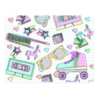 Awesome Eighties Coloring Book Pattern Post Card