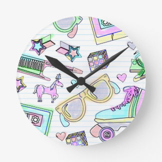 Awesome Eighties Coloring Book Pattern Round Clock