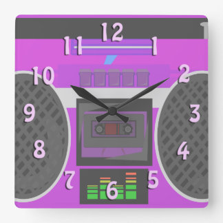 Awesome Eighties Purple Boombox Square Wall Clock