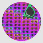 Awesome Eighties Sunglasses on Purple Classic Round Sticker