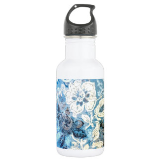Awesome Elaborate Blue White Floral Art Design 18oz Water Bottle