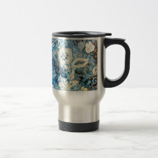 Awesome Elaborate Blue White Floral Art Design Travel Mug