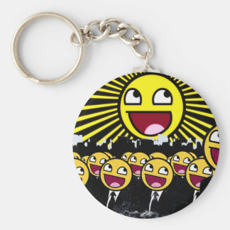 Awesome Face Basic Round Button Keychain