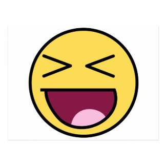 awesome face laugh postcard
