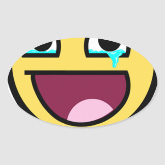 awesome face so much win oval sticker