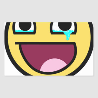 awesome face so much win rectangular sticker