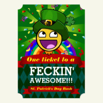 Awesome Face St. Patrick's Day Party Invitations