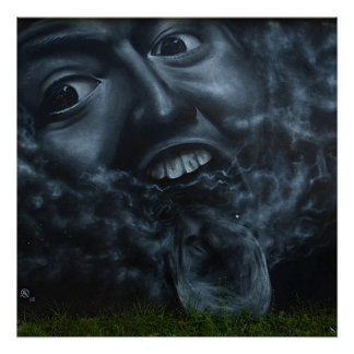 Awesome faces graffiti poster
