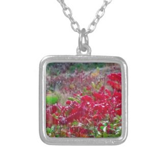 Awesome Fall Red Leaf Flower Colors on gifts fun Silver Plated Necklace