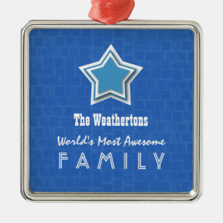 Awesome FAMILY Blue Mosaic and Star D55Z Square Metal Christmas Ornament
