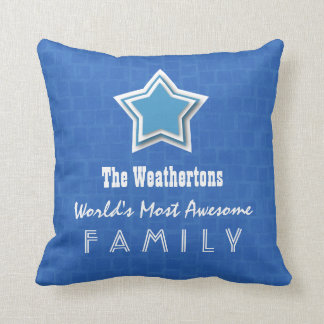 Awesome FAMILY Blue Mosaic and Star D55Z Throw Pillows