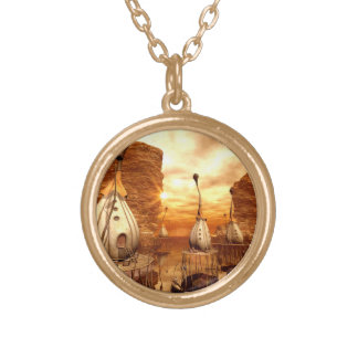 Awesome fantasy world in the sunset round pendant necklace