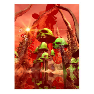 Awesome fantasy world with skull mushrooms postcard