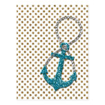 Awesome faux glitter peacock blue nautical anchor post card