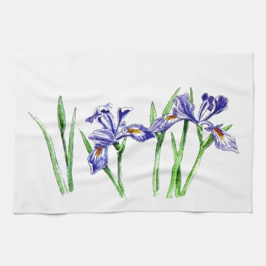 Awesome Feminine Blue Iris Design Photo Towel