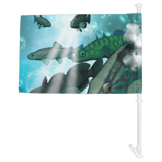 Awesome fish shoal with bubbles and light effects car flag