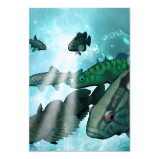 Awesome fish shoal with bubbles and light effects card