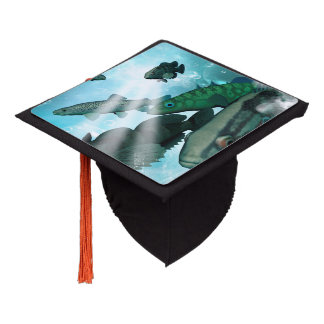 Awesome fish shoal with bubbles and light effects graduation cap topper