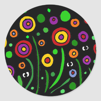 Awesome Floral Art and Eyes Art Abstract Classic Round Sticker