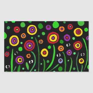 Awesome Floral Art and Eyes Art Abstract Rectangular Sticker
