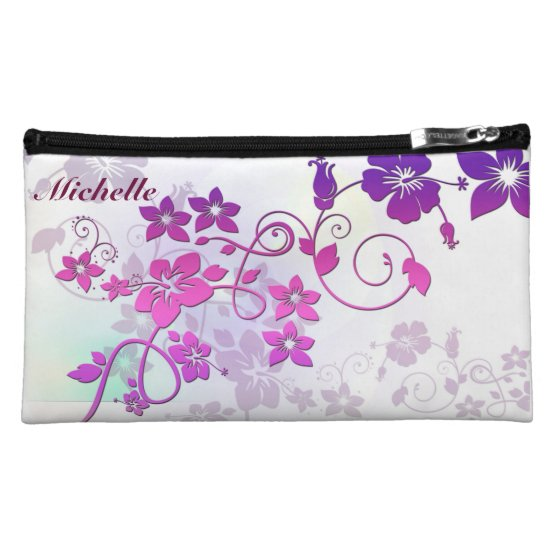 Awesome Floral Sueded Medium Cosmetic Bag