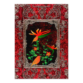 Awesome flowers with bird on a frame card