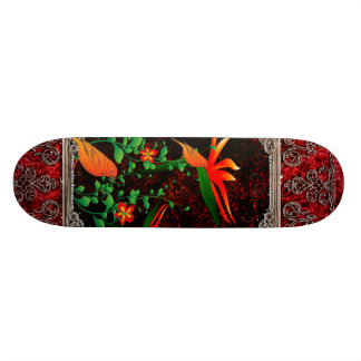 Awesome flowers with bird on a frame skateboard