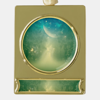 Awesome forest gold plated banner ornament