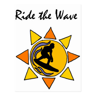 Awesome Fun Surfer Riding Wave Art Postcard