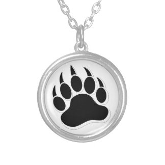 Awesome Gay Bear claw B&W 3D effect Silver Plated Necklace