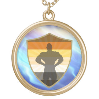 Awesome Gay bear Muscle Bear Shield Round Pendant Necklace