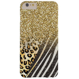 Awesome girly trendy gold leopard and zebra barely there iPhone 6 plus case