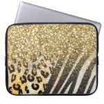 Awesome girly trendy gold leopard and zebra print computer sleeve