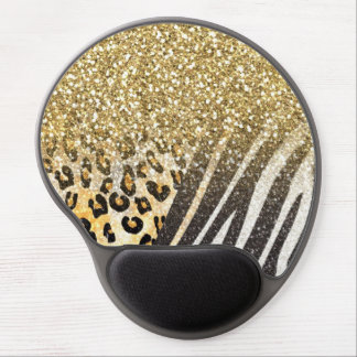 Awesome girly trendy gold leopard and zebra print gel mouse pad