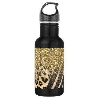 Awesome girly trendy gold leopard and zebra print stainless steel water bottle