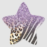 Awesome girly trendy gold leopard and zebra print star sticker