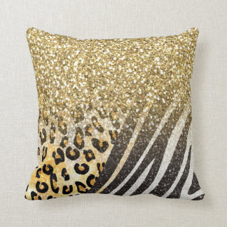 Awesome girly trendy gold leopard and zebra print throw pillow