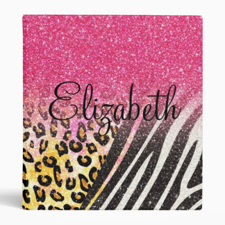 Awesome girly trendy leopard print, zebra stripes 3 ring binder
