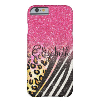 Awesome girly trendy leopard print, zebra stripes barely there iPhone 6 case