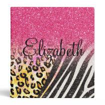 Awesome girly trendy leopard print, zebra stripes binder