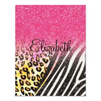 Awesome girly trendy leopard print, zebra stripes card