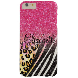 Awesome girly trendy leopard print zebra stripes barely there iPhone 6 plus case