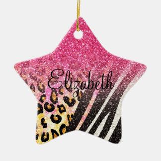 Awesome girly trendy leopard print, zebra stripes ceramic ornament