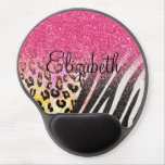 Awesome girly trendy leopard print, zebra stripes gel mouse pad