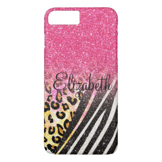 Awesome girly trendy leopard print, zebra stripes iPhone 7 plus case