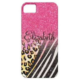 Awesome girly trendy leopard print, zebra stripes iPhone SE/5/5s case