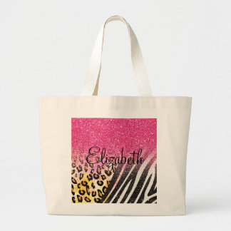 Awesome girly trendy leopard print, zebra stripes large tote bag