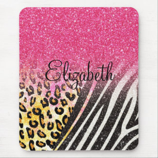 Awesome girly trendy leopard print, zebra stripes mouse pad