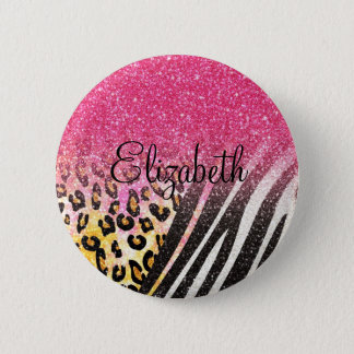 Awesome girly trendy leopard print, zebra stripes pinback button
