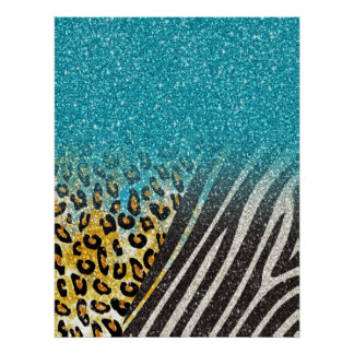 Awesome girly trendy leopard print, zebra stripes poster